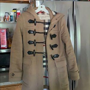 Burberry London RARE heavy peacoat with fur trim